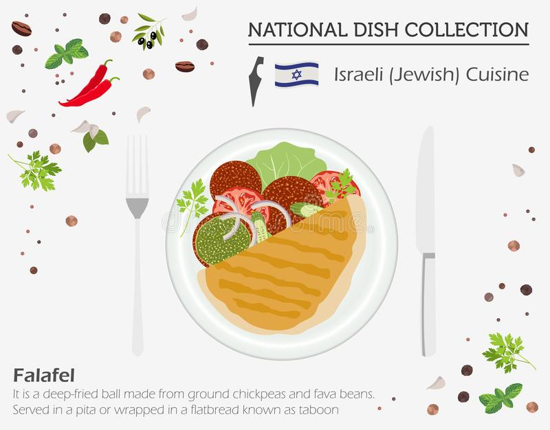 Cuisine israélienne Collection nationale de plat de Moyen-Orient F juif illustration de vecteur