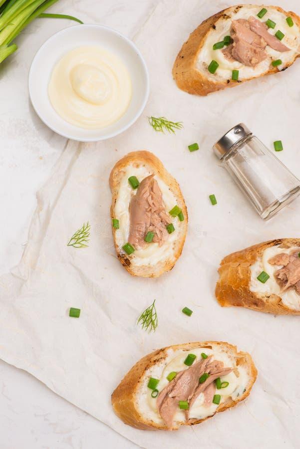 Cuisine italienne Bruschette avec le thon, l'oignon, et la mayonnaise photo libre de droits