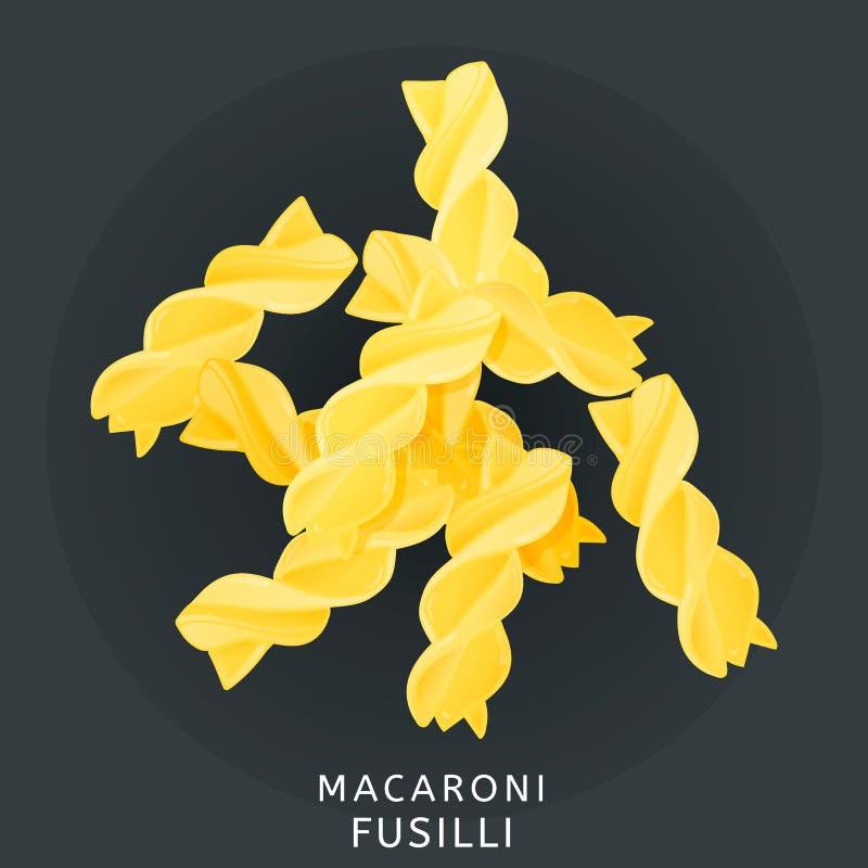 Cuisine italienne traditionnelle Fusilli de macaronis, pâtes Icône d'isolement sur le fond foncé Illustration de vecteur illustration libre de droits