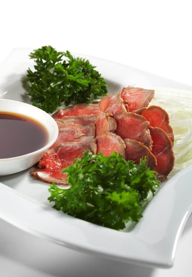 Cuisine japonaise - coupures de boeuf image libre de droits
