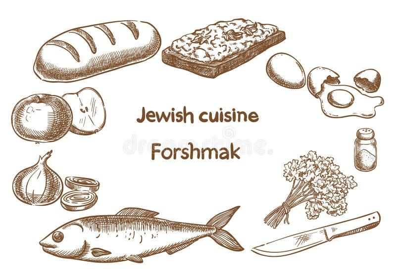 Cuisine juive Ingrédients de Forshmak illustration libre de droits