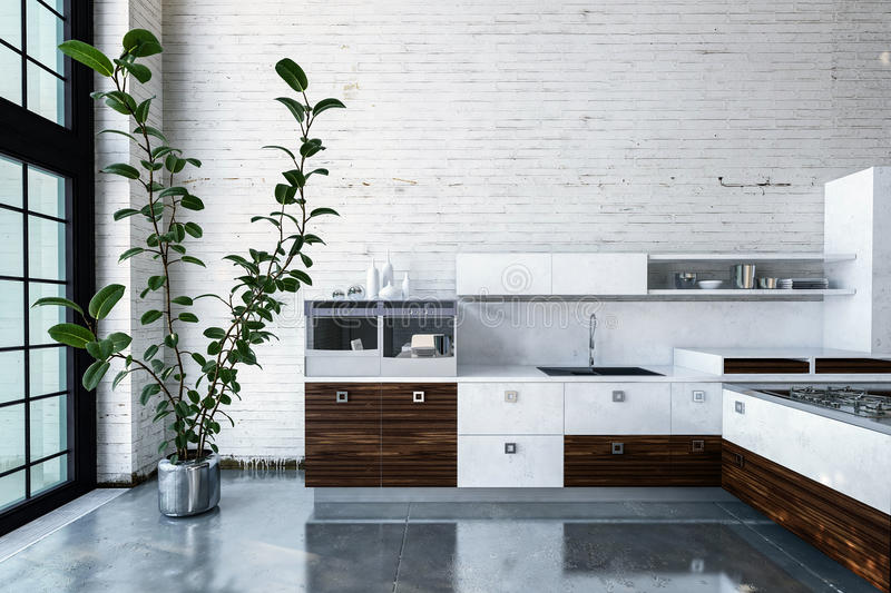 Cuisine luxueuse en appartement moderne illustration stock