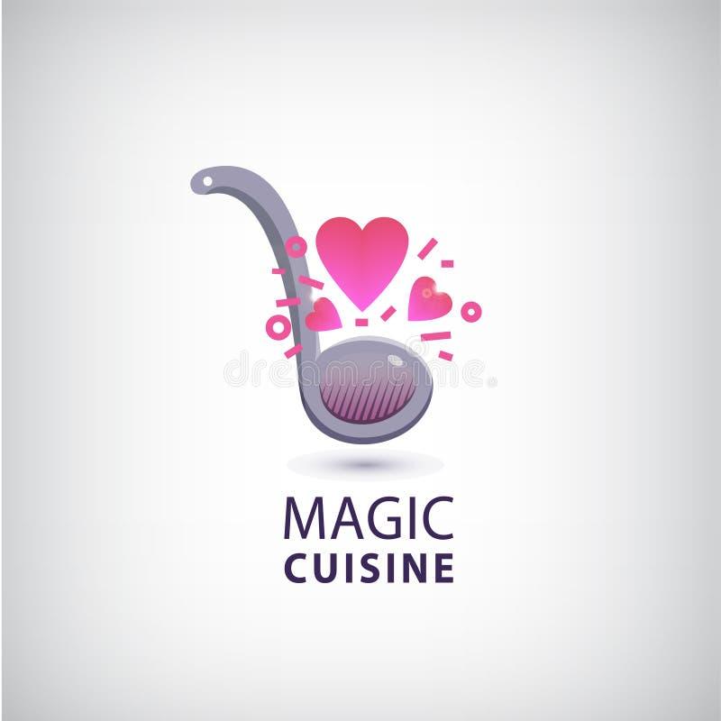 Cuisine magique de vecteur, logo de cuisinier d'amour illustration libre de droits
