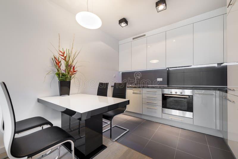cuisine moderne avec le plancher de tuiles gris photo. Black Bedroom Furniture Sets. Home Design Ideas