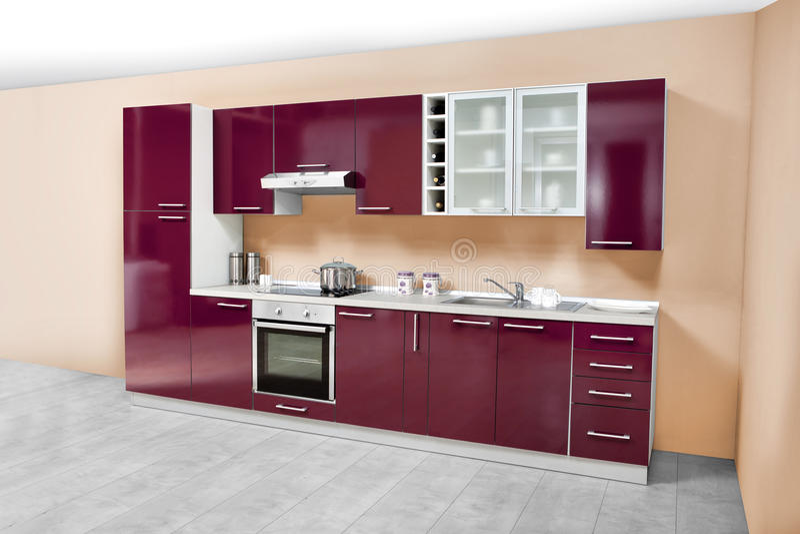 Cuisine moderne, meubles en bois, simple et propre image stock