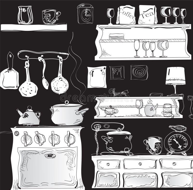 Cuisine moderne sur le noir illustration de vecteur