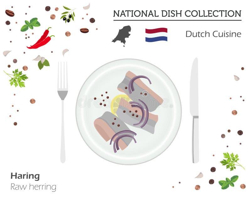 Cuisine néerlandaise Collection nationale européenne de plat Harengs crus i illustration libre de droits
