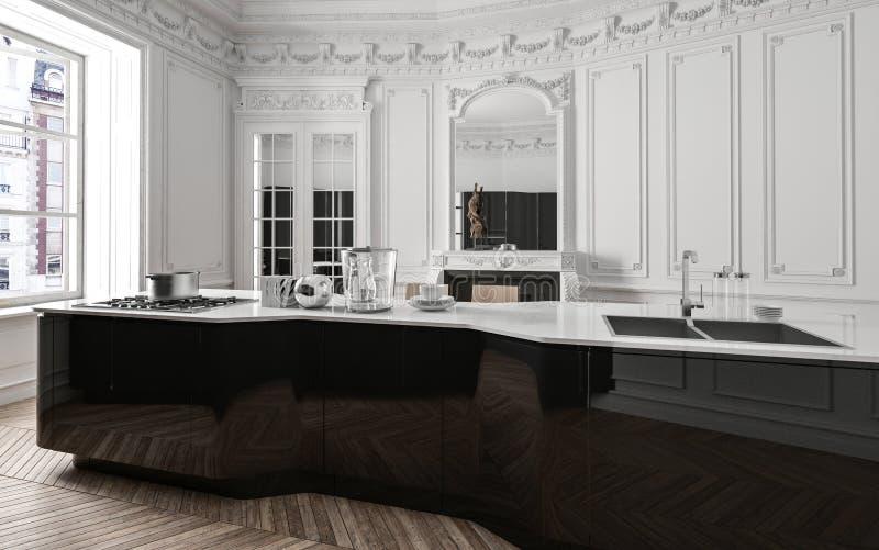 Cuisine noire et blanche moderne de luxe classique illustration libre de droits