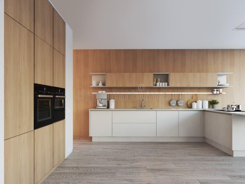 Cuisine nordique moderne en appartement de grenier rendu 3d illustration stock