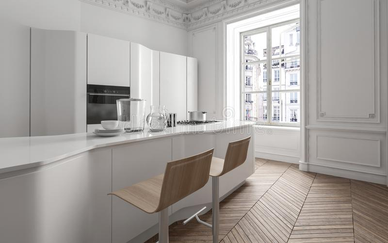 Cuisine ouverte de plan de blanc frais dans un appartement illustration de vecteur