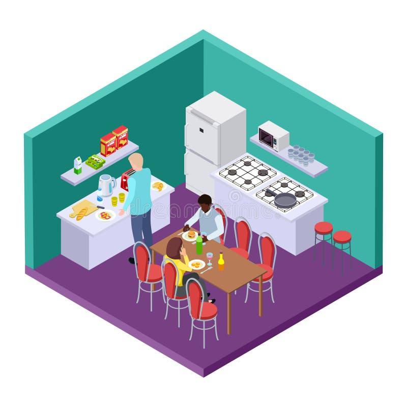 Cuisine partagée dans un emplacement isométrique de vecteur de pension internationale illustration stock