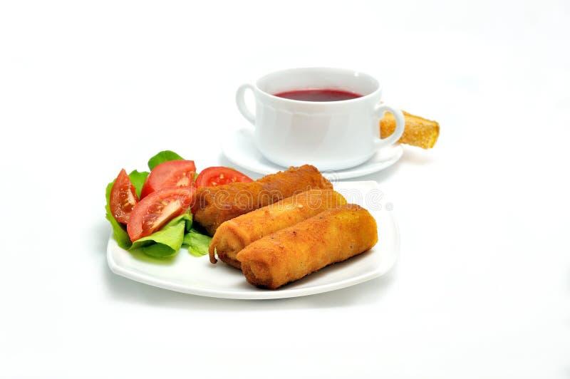 Cuisine polonaise. Croquette et potage. images stock