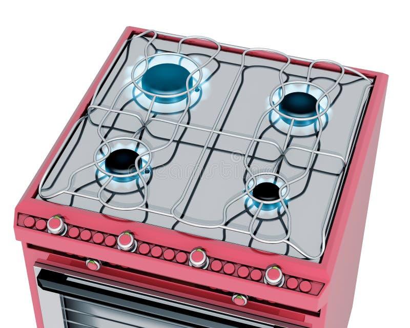 Cuisine rouge avec le poêle de gaz illustration stock