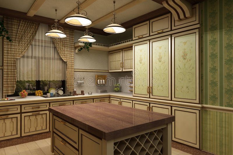 cuisine in vintage style 3-D