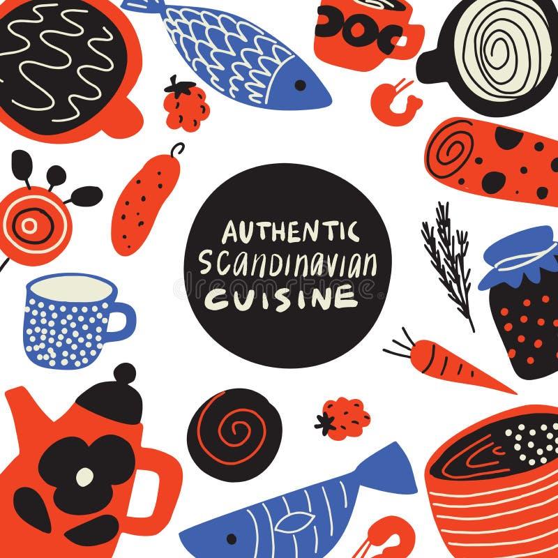 Cuisine scandinave authentique Illustration tirée par la main de nourriture scandinave différente Calibre de menu Vecteur illustration stock