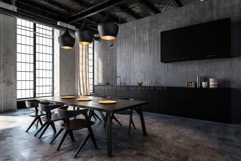 Cuisine spacieuse avec la salle à manger dans le grenier à plat illustration stock