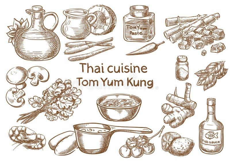 Cuisine thaïe Ingrédients de kung de Tom yum illustration stock