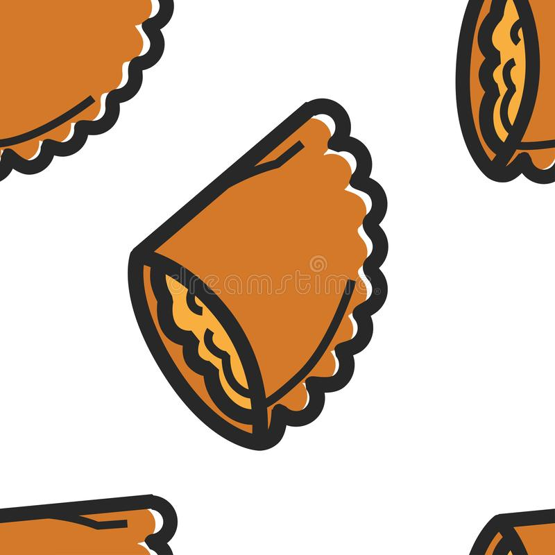 Cuisine traditionnelle brésilienne de modèle sans couture de petits pâtés de poulet illustration stock