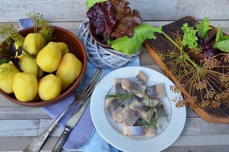 Cuisine traditionnelle russe : harengs salés avec les pommes de terre et les oignons bouillis Table minable, vue supérieure photographie stock libre de droits