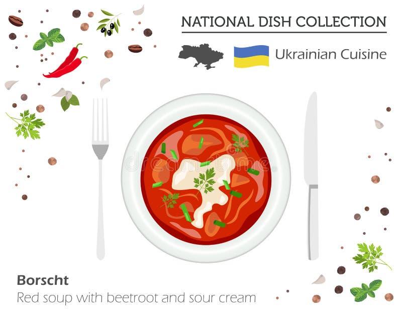 Cuisine ukrainienne Collection nationale européenne de plat Le Borscht est illustration libre de droits