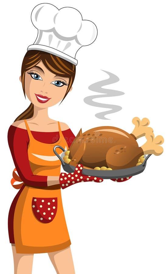 Cuisinière Thanksgiving Roast Turkey de femme illustration stock