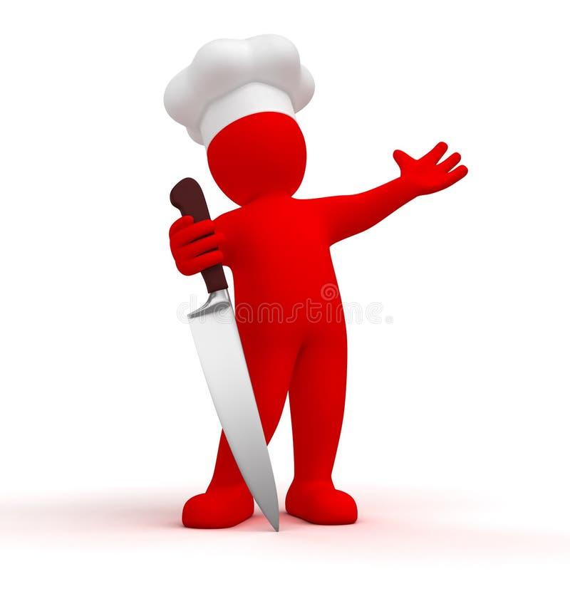 Cuisinier avec le couteau illustration de vecteur