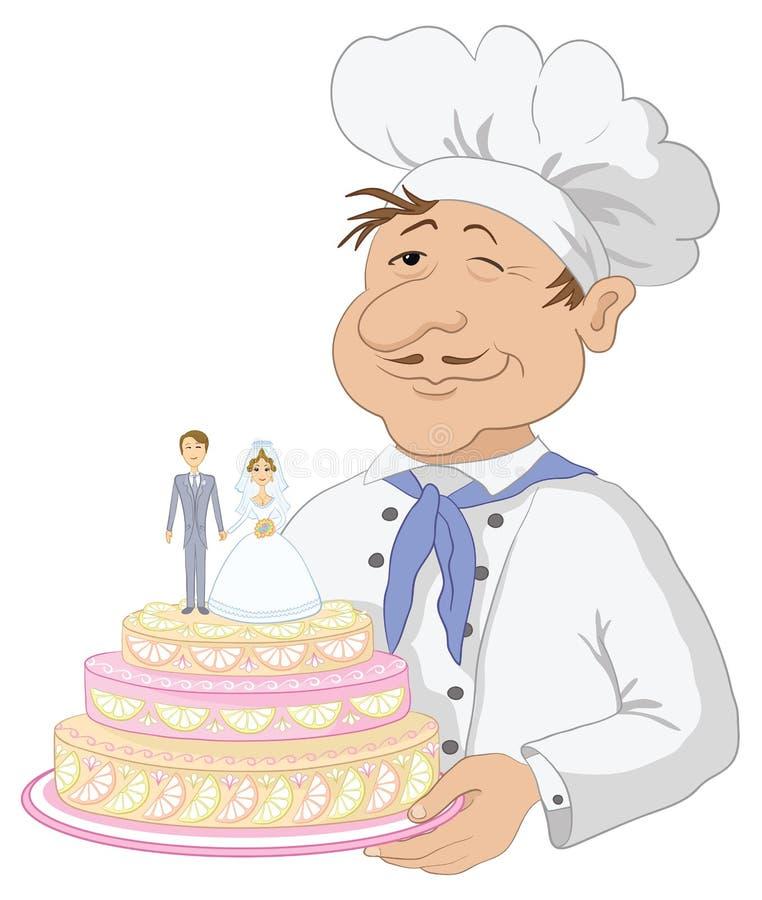 Cuisinier avec le gâteau de mariage de vacances illustration libre de droits
