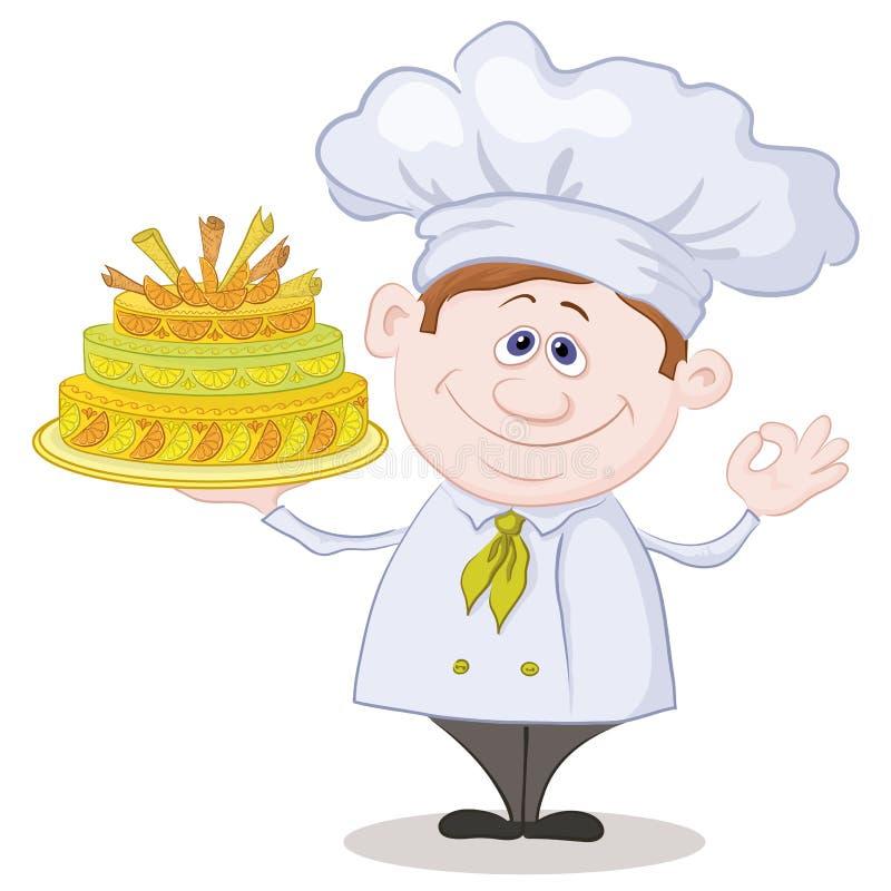 Cuisinier avec le gâteau de vacances illustration de vecteur