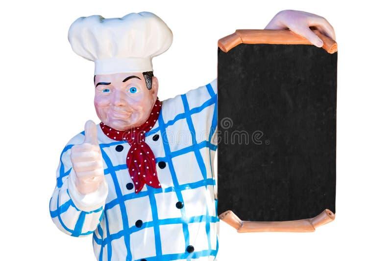 Cuisinier avec le signe blanc image libre de droits