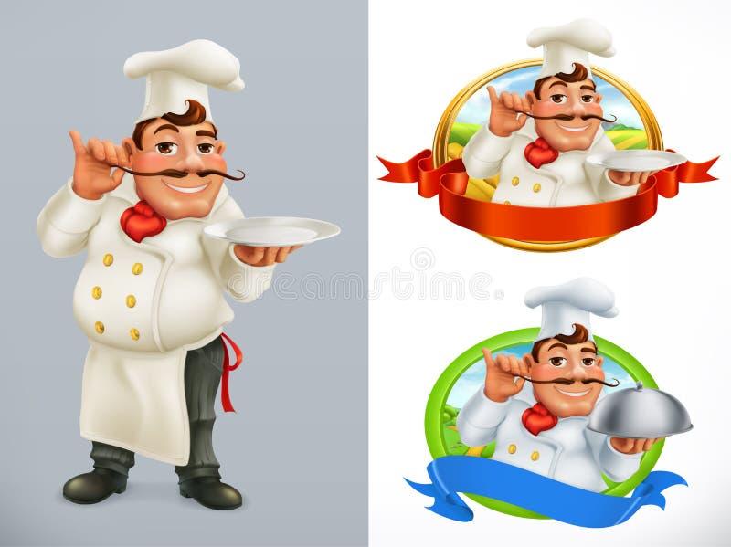 Cuisinier, chef Caractère et label Ensemble d'icône de vecteur illustration stock