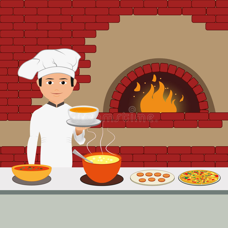 Cuisinier Chef - chef heureux tenant le plateau illustration stock