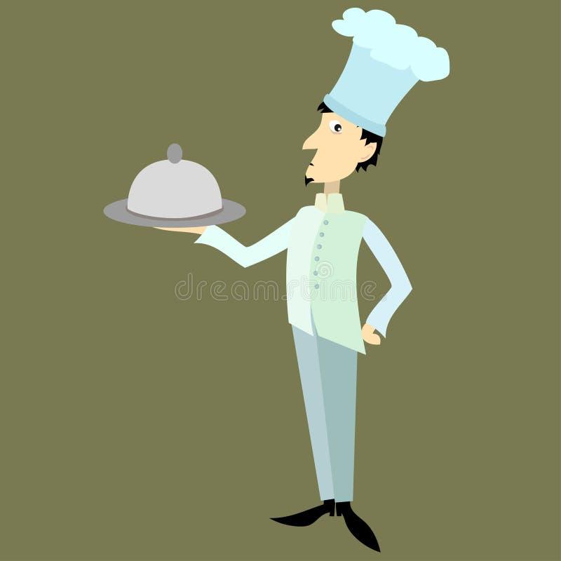 Cuisinier dans l'uniforme avec le plat illustration stock