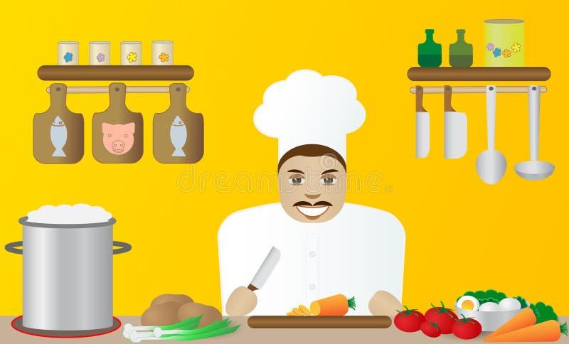 Cuisinier dans un restaurant. illustration de vecteur
