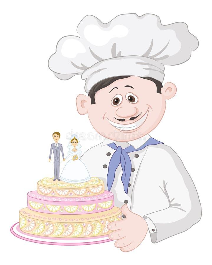 Cuisinier de bande dessinée avec le gâteau de mariage de vacances illustration libre de droits