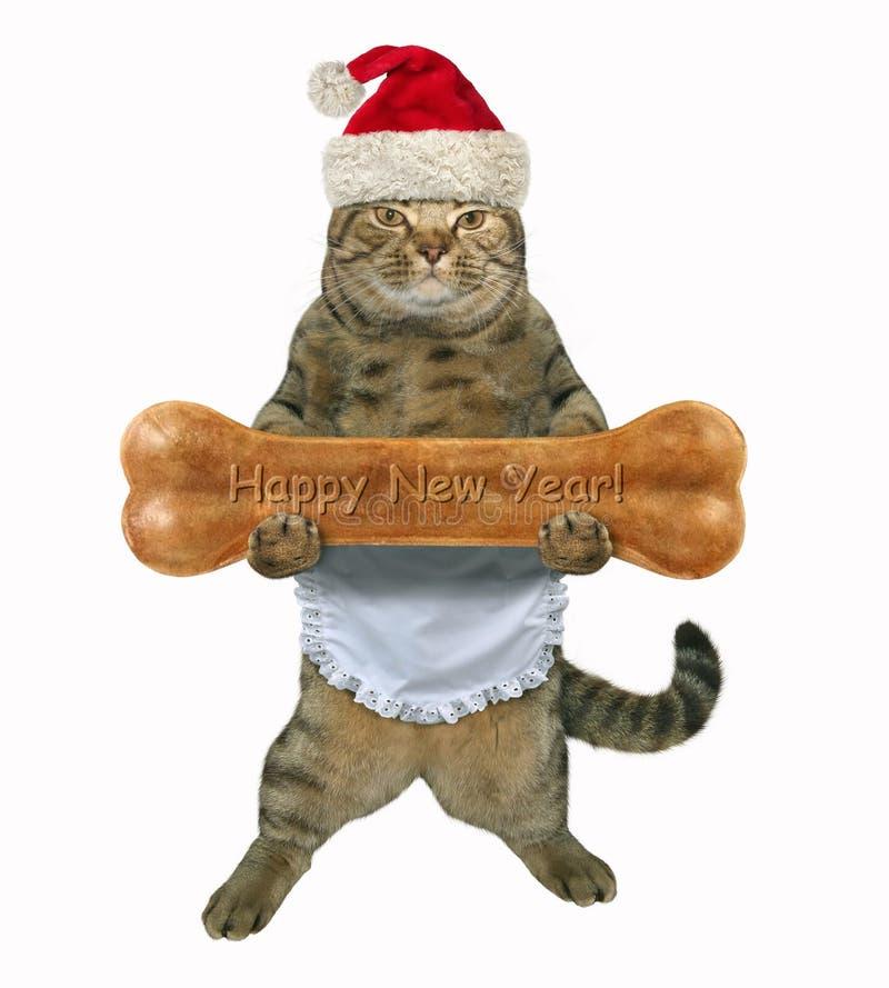 Cuisinier de chat de nouvelle année avec l'os image stock