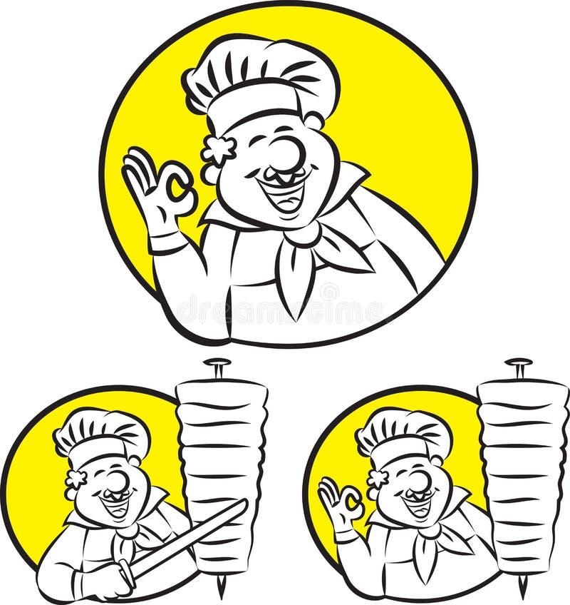 Cuisinier de chiche-kebab de Doner illustration de vecteur