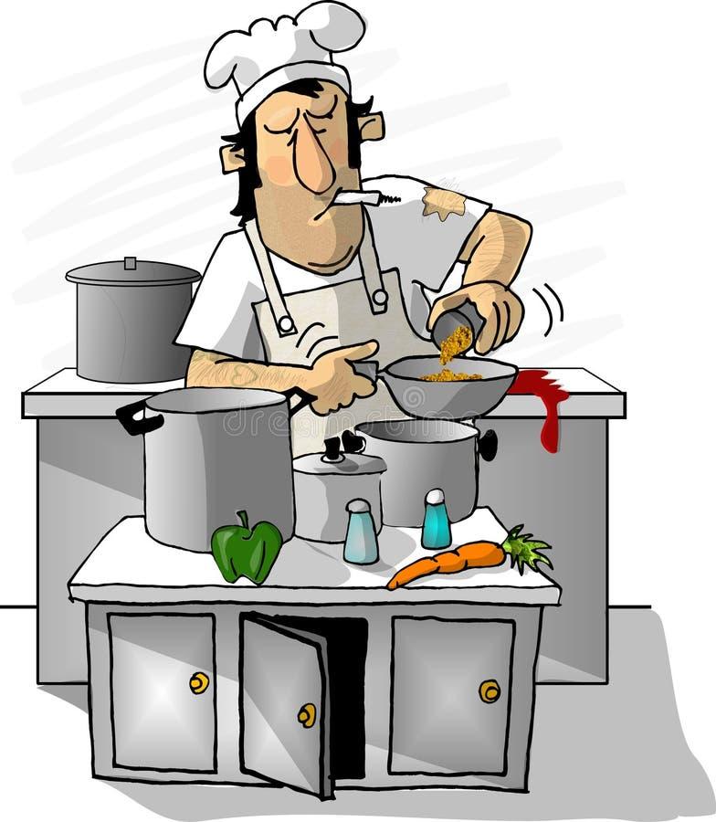 Cuisinier de cuillère graisseuse illustration de vecteur