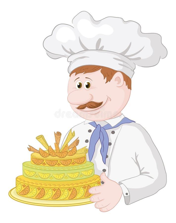 Cuisinier de dessin animé avec le gâteau de vacances illustration de vecteur