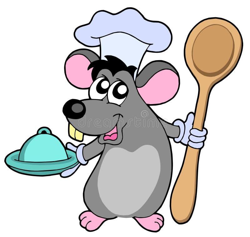 Cuisinier de souris avec la cuillère illustration libre de droits