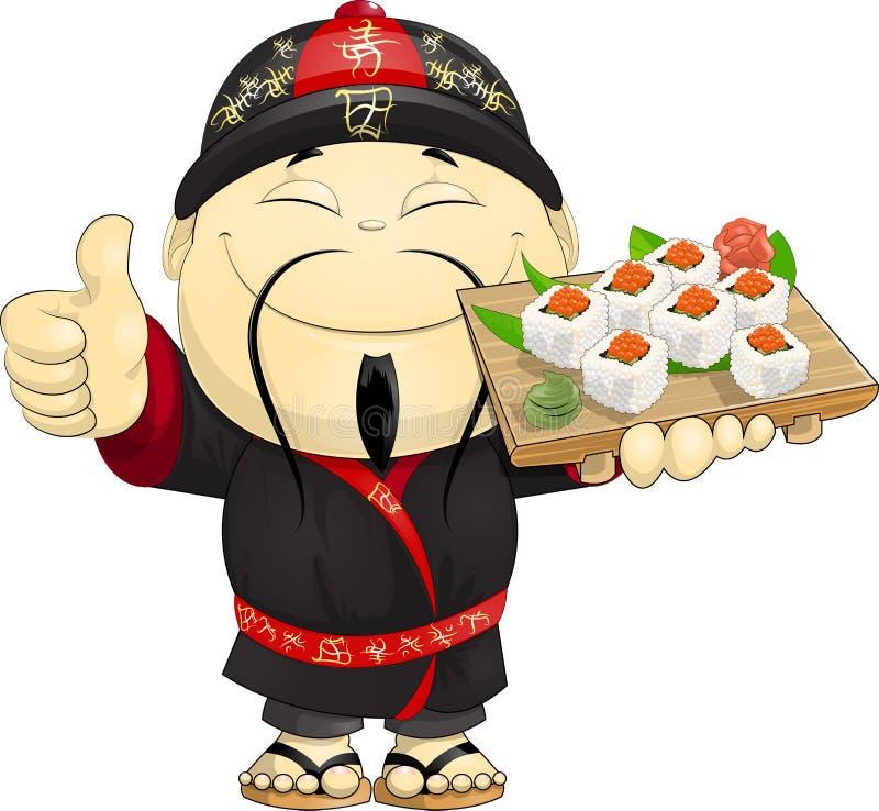 Cuisinier des sushi illustration libre de droits