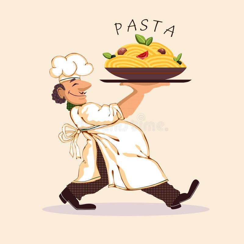 Cuisinier et pâtes illustration stock