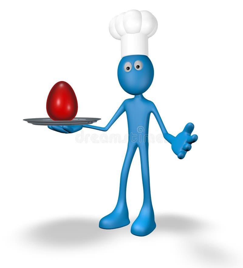 Cuisinier et plat avec l'oeuf illustration libre de droits