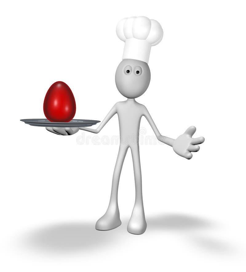 Cuisinier et plat avec l'oeuf illustration de vecteur