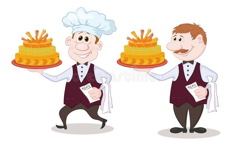 Cuisinier et serveur avec des gâteaux de vacances illustration stock