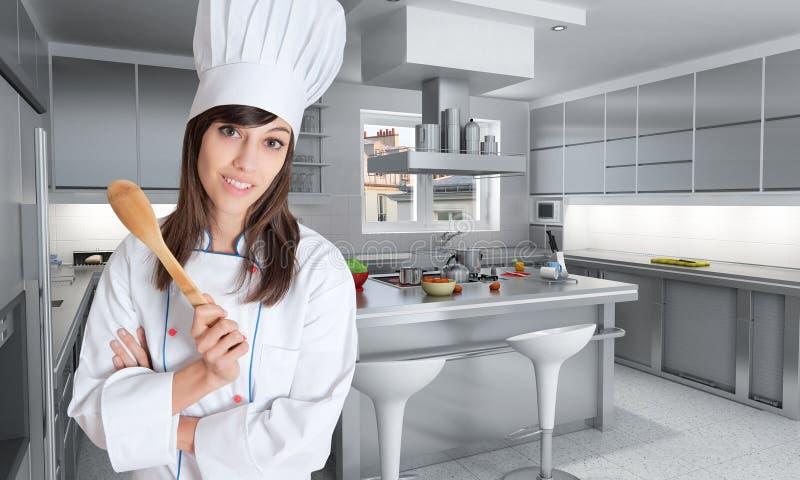 Cuisinier expert dans la cuisine grande photographie stock