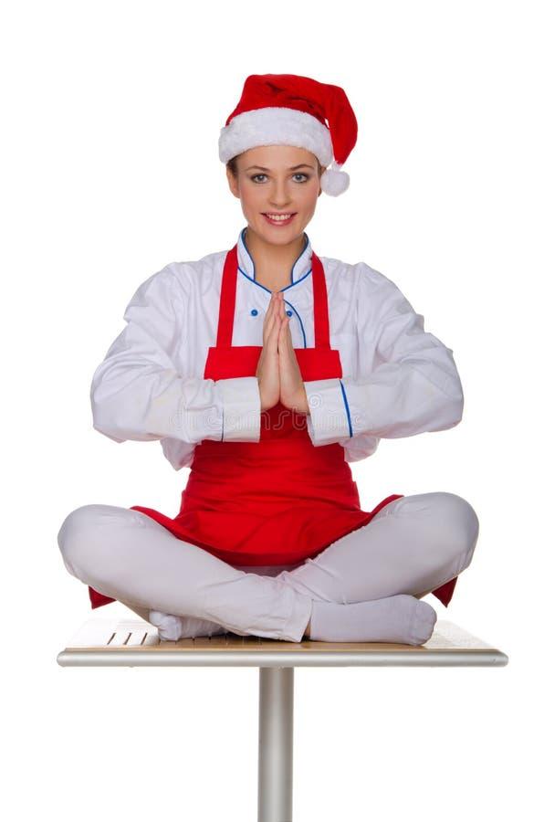 Cuisinier gai dans le chapeau image stock