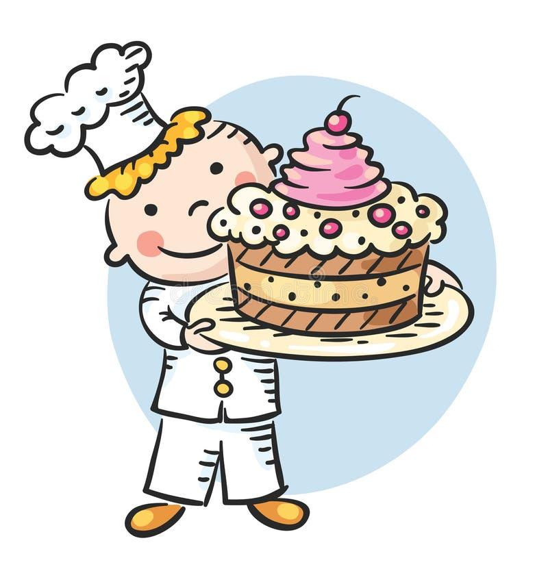 Cuisinier heureux de bande dessinée avec un gâteau illustration stock