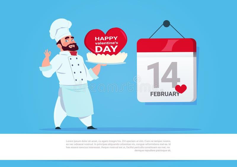 Cuisinier Holding Cake For valentines jour célébration concept heureux masculin de vacances d'amour du 14 février illustration de vecteur
