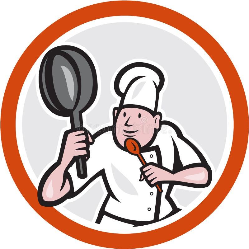 Cuisinier Holding Frying Pan Fighting Stance Cartoon de chef illustration stock