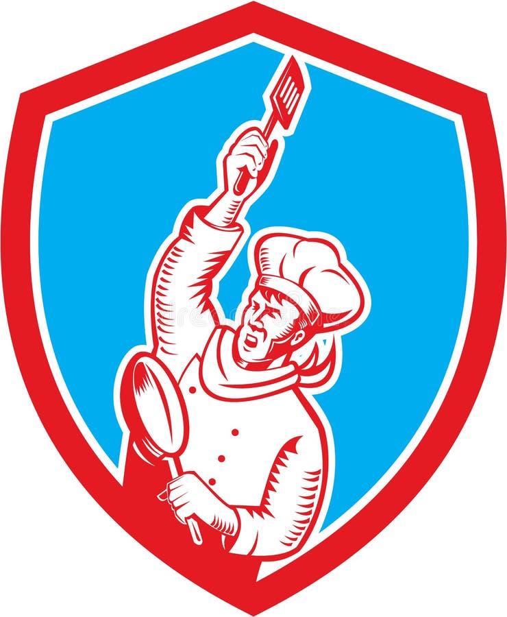 Cuisinier Holding Spatula Frying Pan Shield Woodcut de chef illustration de vecteur